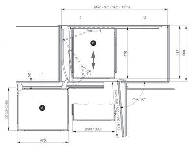 Peka-Drehauszug MAGIC CORNER Comfort, 900 mm rechts
